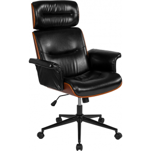 Wholesale Contemporary Black Leather High Back Walnut Wood Executive Swivel Ergonomic Office Chair