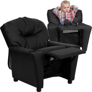 Wholesale Contemporary Black Leather Kids Recliner with Cup Holder