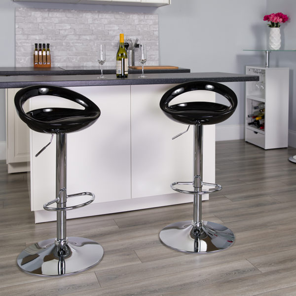 Lowest Price Contemporary Black Plastic Adjustable Height Barstool with Rounded Cutout Back and Chrome Base