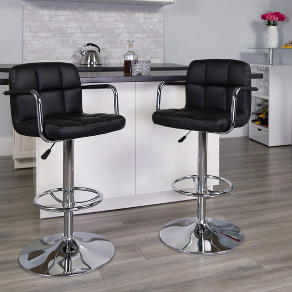 Lowest Price Contemporary Black Quilted Vinyl Adjustable Height Barstool with Arms and Chrome Base