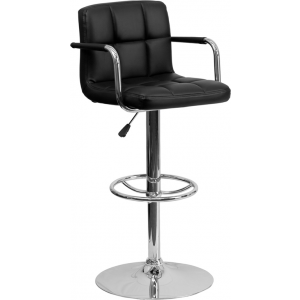 Wholesale Contemporary Black Quilted Vinyl Adjustable Height Barstool with Arms and Chrome Base