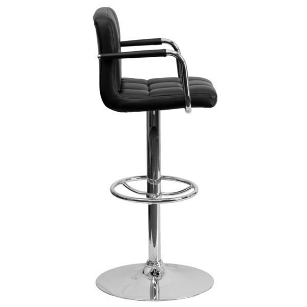 Contemporary Style Stool Black Quilted Vinyl Barstool