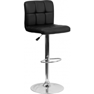 Wholesale Contemporary Black Quilted Vinyl Adjustable Height Barstool with Chrome Base