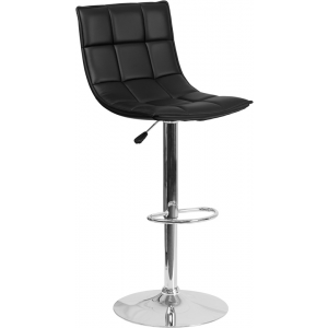 Wholesale Contemporary Black Quilted Vinyl Adjustable Height Barstool with Elongated Curved Back and Chrome Base