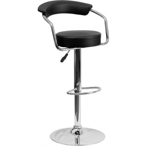 Wholesale Contemporary Black Vinyl Adjustable Height Barstool with Arms and Chrome Base