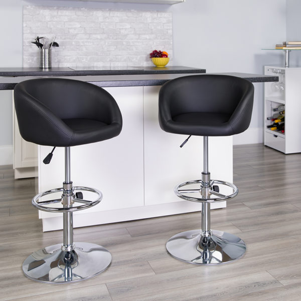 Lowest Price Contemporary Black Vinyl Adjustable Height Barstool with Barrel Back and Chrome Base