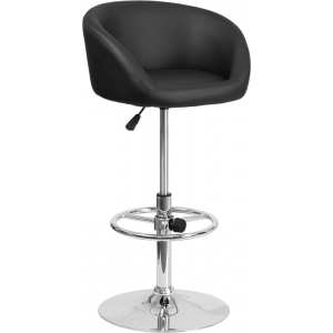 Wholesale Contemporary Black Vinyl Adjustable Height Barstool with Barrel Back and Chrome Base