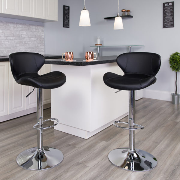 Lowest Price Contemporary Black Vinyl Adjustable Height Barstool with Curved Back and Chrome Base