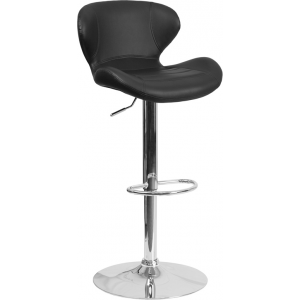 Wholesale Contemporary Black Vinyl Adjustable Height Barstool with Curved Back and Chrome Base