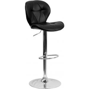 Wholesale Contemporary Black Vinyl Adjustable Height Barstool with Diamond Stitched Back and Chrome Base
