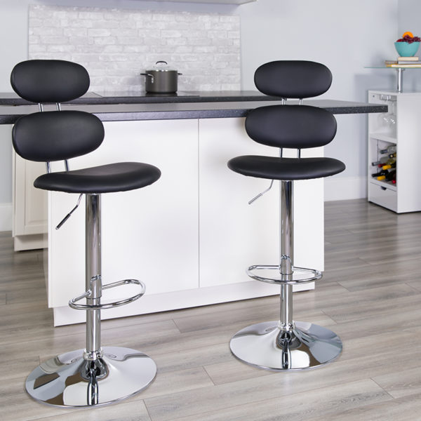 Lowest Price Contemporary Black Vinyl Adjustable Height Barstool with Ellipse Back and Chrome Base