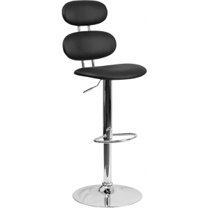 Wholesale Contemporary Black Vinyl Adjustable Height Barstool with Ellipse Back and Chrome Base