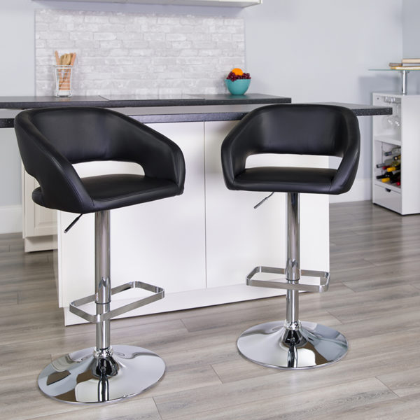 Lowest Price Contemporary Black Vinyl Adjustable Height Barstool with Rounded Mid-Back and Chrome Base