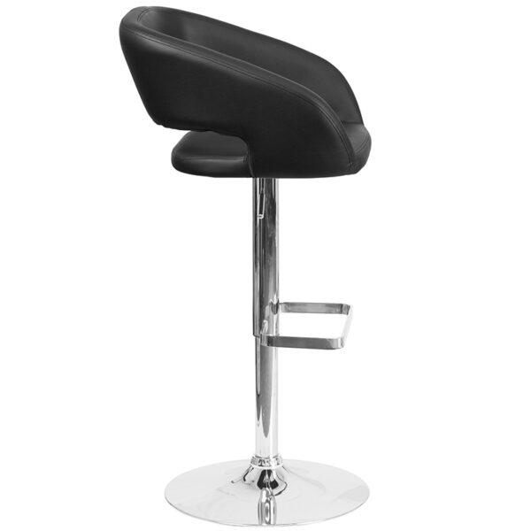 Contemporary Style Stool Black Vinyl Barstool