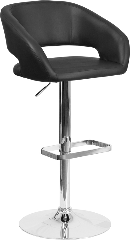 Wholesale Contemporary Black Vinyl Adjustable Height Barstool with Rounded Mid-Back and Chrome Base