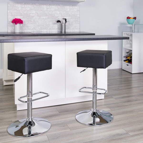 Lowest Price Contemporary Black Vinyl Adjustable Height Barstool with Square Seat and Chrome Base
