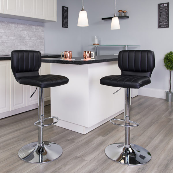 Lowest Price Contemporary Black Vinyl Adjustable Height Barstool with Vertical Stitch Back and Chrome Base