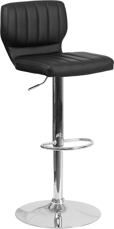 Wholesale Contemporary Black Vinyl Adjustable Height Barstool with Vertical Stitch Back and Chrome Base