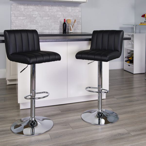 Lowest Price Contemporary Black Vinyl Adjustable Height Barstool with Vertical Stitch Back/Seat and Chrome Base