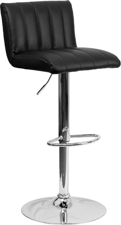 Wholesale Contemporary Black Vinyl Adjustable Height Barstool with Vertical Stitch Back/Seat and Chrome Base