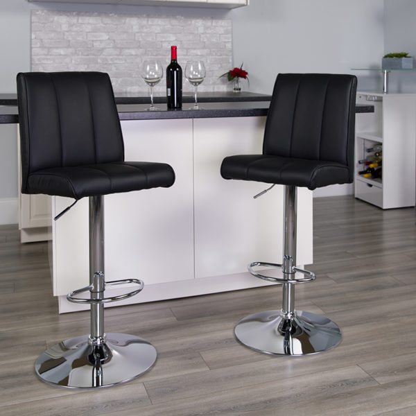 Lowest Price Contemporary Black Vinyl Adjustable Height Barstool with Vertical Stitch Panel Back and Chrome Base