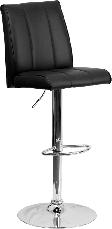 Wholesale Contemporary Black Vinyl Adjustable Height Barstool with Vertical Stitch Panel Back and Chrome Base