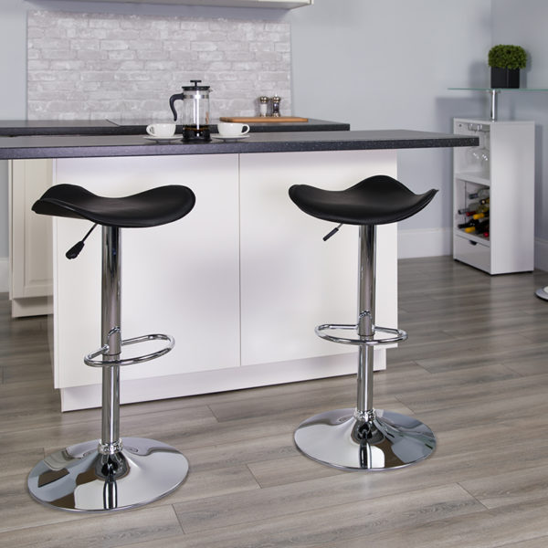 Lowest Price Contemporary Black Vinyl Adjustable Height Barstool with Wavy Seat and Chrome Base