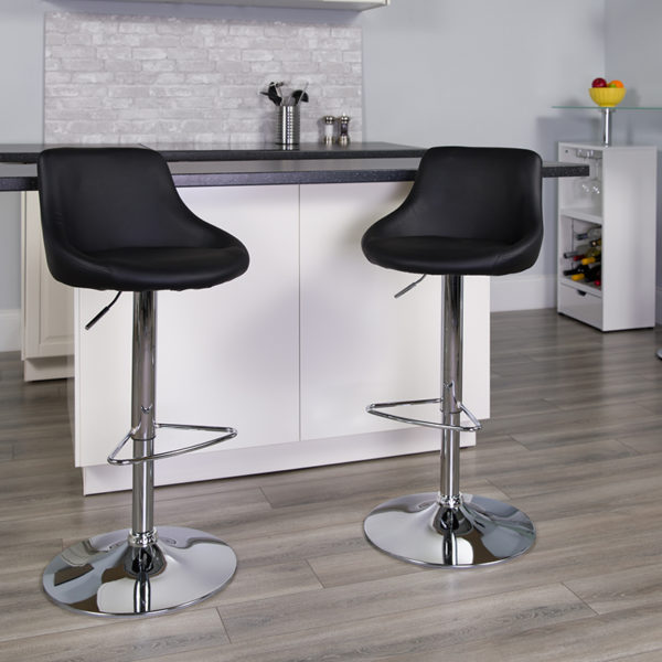 Lowest Price Contemporary Black Vinyl Bucket Seat Adjustable Height Barstool with Chrome Base