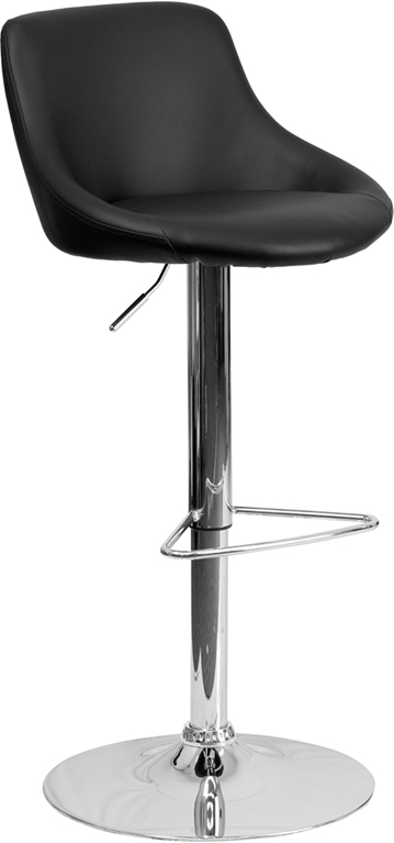 Wholesale Contemporary Black Vinyl Bucket Seat Adjustable Height Barstool with Chrome Base