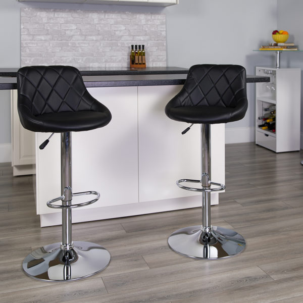 Lowest Price Contemporary Black Vinyl Bucket Seat Adjustable Height Barstool with Diamond Pattern Back and Chrome Base