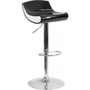 Wholesale Contemporary Black and White Adjustable Height Plastic Barstool with Chrome Base