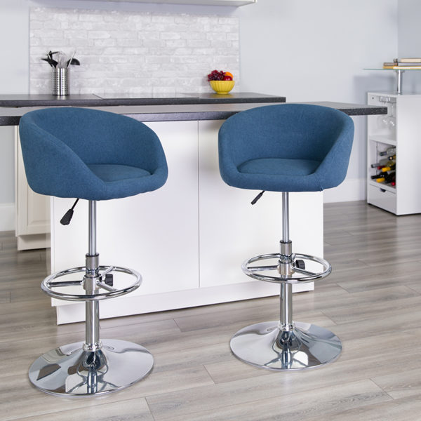 Lowest Price Contemporary Blue Fabric Adjustable Height Barstool with Barrel Back and Chrome Base