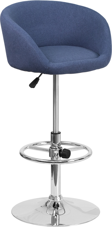 Wholesale Contemporary Blue Fabric Adjustable Height Barstool with Barrel Back and Chrome Base