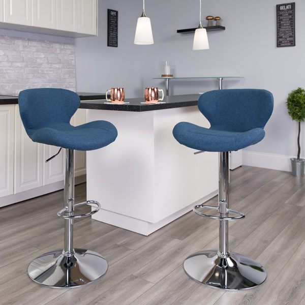 Lowest Price Contemporary Blue Fabric Adjustable Height Barstool with Curved Back and Chrome Base