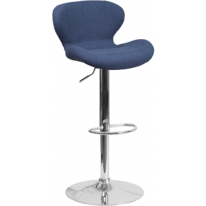 Wholesale Contemporary Blue Fabric Adjustable Height Barstool with Curved Back and Chrome Base