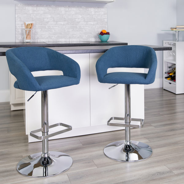 Lowest Price Contemporary Blue Fabric Adjustable Height Barstool with Rounded Mid-Back and Chrome Base