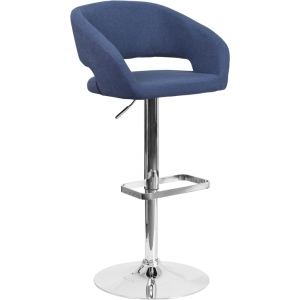 Wholesale Contemporary Blue Fabric Adjustable Height Barstool with Rounded Mid-Back and Chrome Base