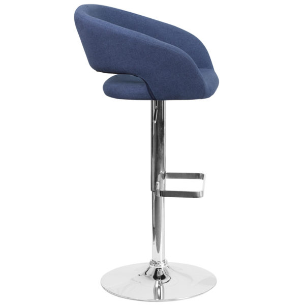 Contemporary Style Stool Blue Fabric Barstool