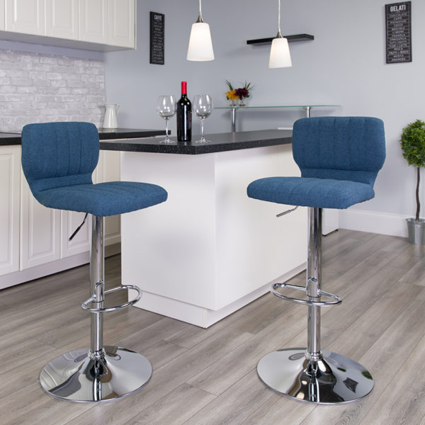 Lowest Price Contemporary Blue Fabric Adjustable Height Barstool with Vertical Stitch Back and Chrome Base