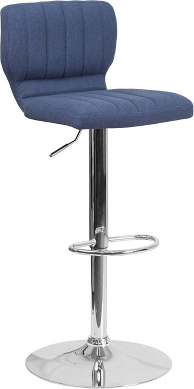 Wholesale Contemporary Blue Fabric Adjustable Height Barstool with Vertical Stitch Back and Chrome Base