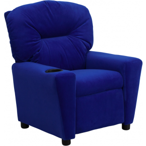 Wholesale Contemporary Blue Microfiber Kids Recliner with Cup Holder
