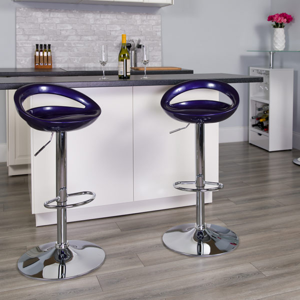 Lowest Price Contemporary Blue Plastic Adjustable Height Barstool with Rounded Cutout Back and Chrome Base