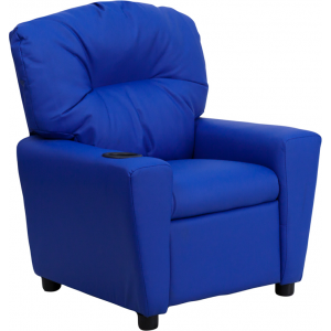 Wholesale Contemporary Blue Vinyl Kids Recliner with Cup Holder