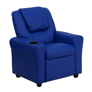 Wholesale Contemporary Blue Vinyl Kids Recliner with Cup Holder and Headrest