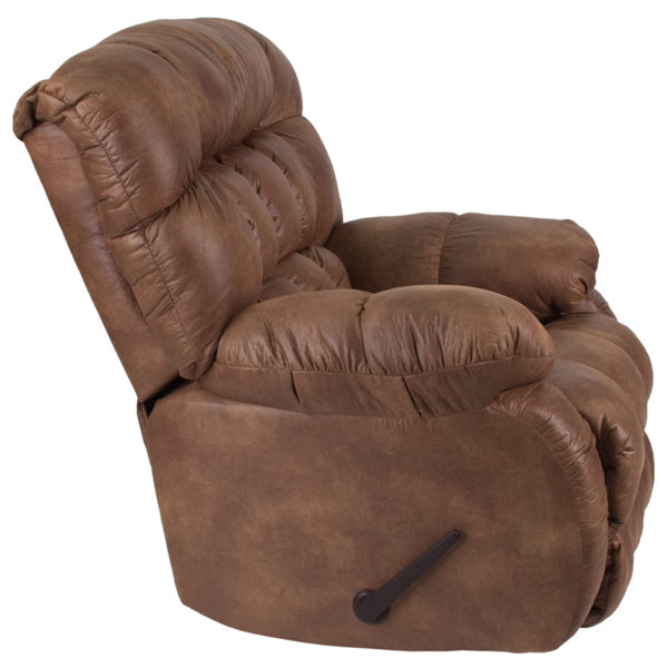 Contemporary Style Almond Fabric Recliner