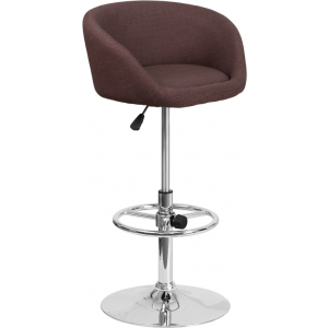 Wholesale Contemporary Brown Fabric Adjustable Height Barstool with Barrel Back and Chrome Base
