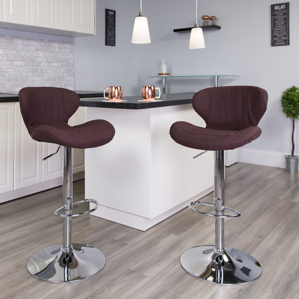 Lowest Price Contemporary Brown Fabric Adjustable Height Barstool with Curved Back and Chrome Base