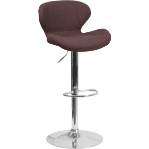 Wholesale Contemporary Brown Fabric Adjustable Height Barstool with Curved Back and Chrome Base