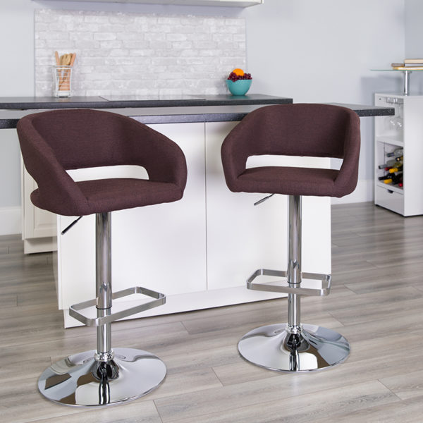 Lowest Price Contemporary Brown Fabric Adjustable Height Barstool with Rounded Mid-Back and Chrome Base