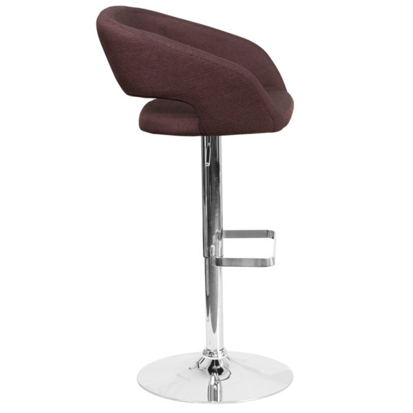 Contemporary Style Stool Brown Fabric Barstool